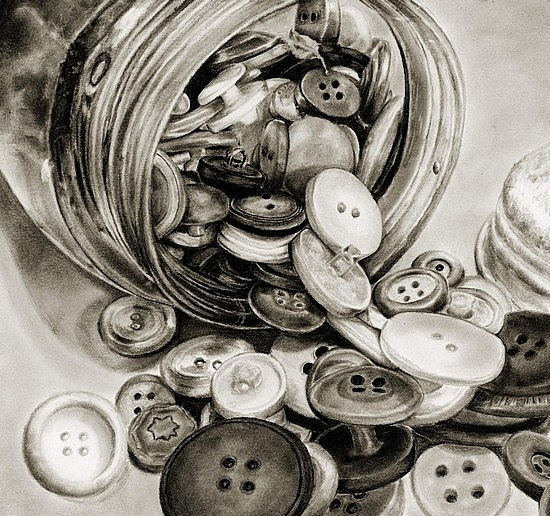 Grandmother's Button Jar - carbon pencil on paper by Marsha Robinett