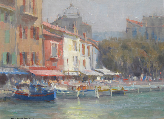 Quay at Cassis by Kevin Macpherson, Oil on Board
