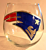 Patriots stemless wine glass by Lisa Bonenfant