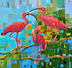 Scarlet Trio by Rene Wiley, 2021, 30 x 30 inches, oil on canvas by Rene Wiley Gallery