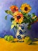 Wid Sunflowers Carol Painting by Carol Hopper