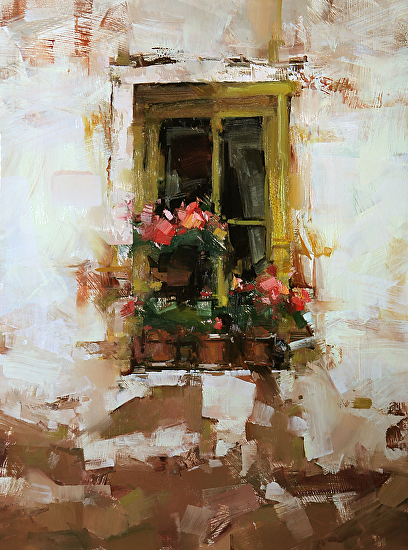 Windows With Flowers Oil Painting