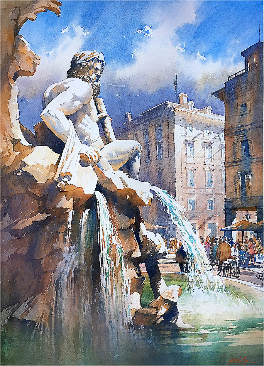 Watercolor artist websites -  The Ganges Fountain Of The Four Rivers Rome By Thomas W Schaller Watercolor
