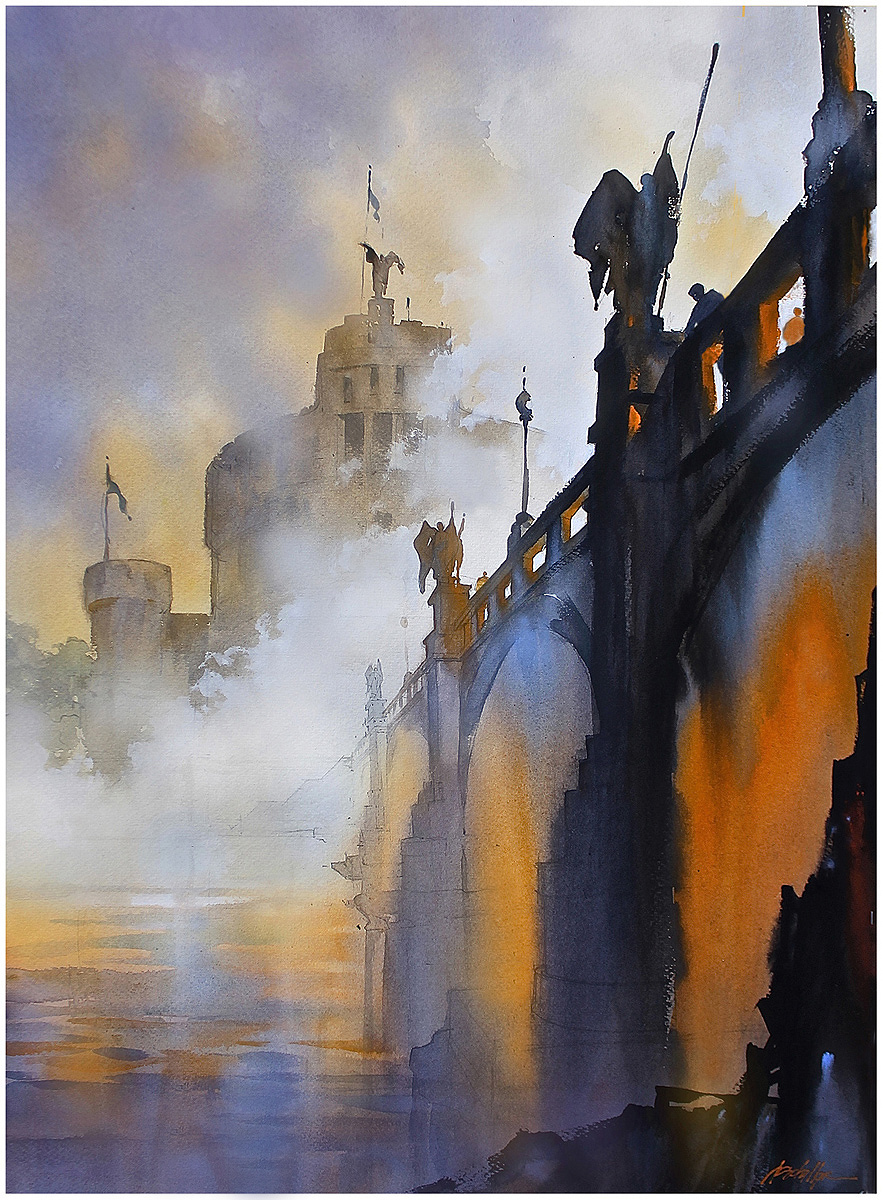 Watercolor artist websites - Fog On The Tiber Rome Watercolor