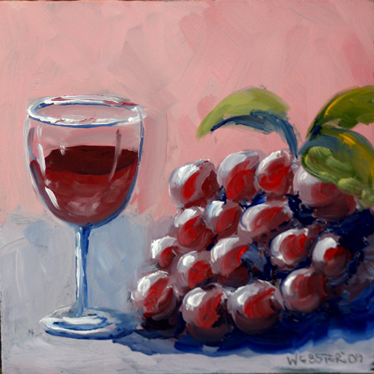 Mark Webster - Small Glass of Wine with Grapes Oil ...