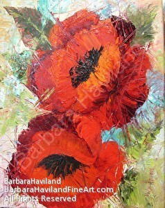 Two Poppies by Barbara Haviland Oil ~ 16 x 20