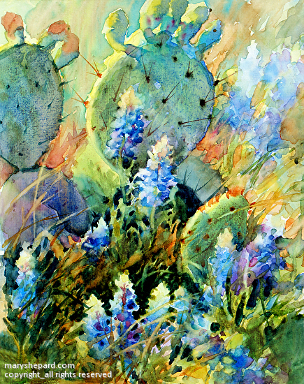 Mary Shepard Work Detail Bluebonnets In Cactus