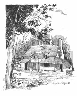 English Cottage Pen And Ink By George Olson