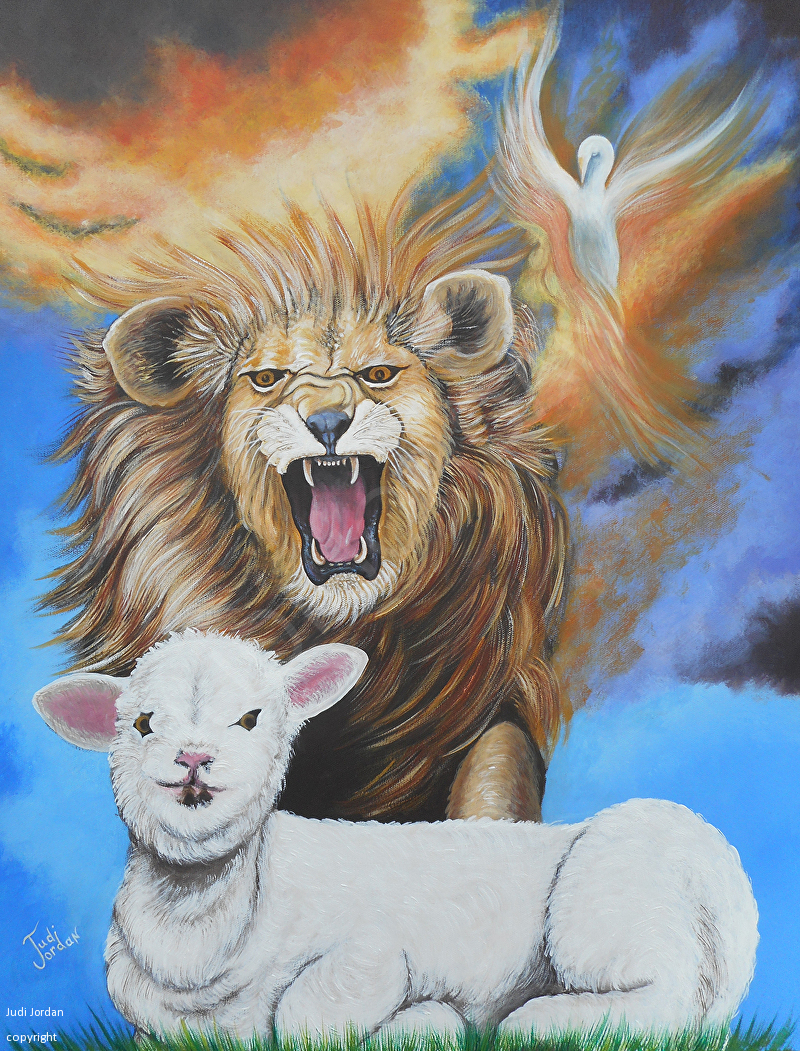 Judi Jordan - Work Zoom: Lion Hearted Lamb for Lion And Lamb Painting  111bof