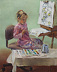 Alana, painting a watercolor, at about age five by Nancy Taylor