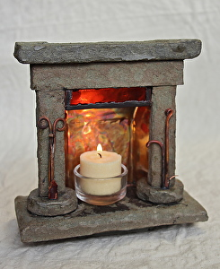 mark swanberry Work Detail Table top fireplace candle holder