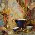 Bluebirds and Teacup by Laura Robb