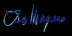 LM SIGNATURE LOGO R1 BLUE ON BLACK BACKGROUND 02 by Les Mayers