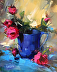Blue Pitcher Pink Roses by Rita Curtis