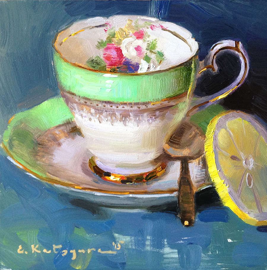 Elena katsyura work zoom green teacup and lemon for Where to buy fine art