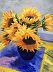 Sunflowers on French Napkin by Karen Stanley