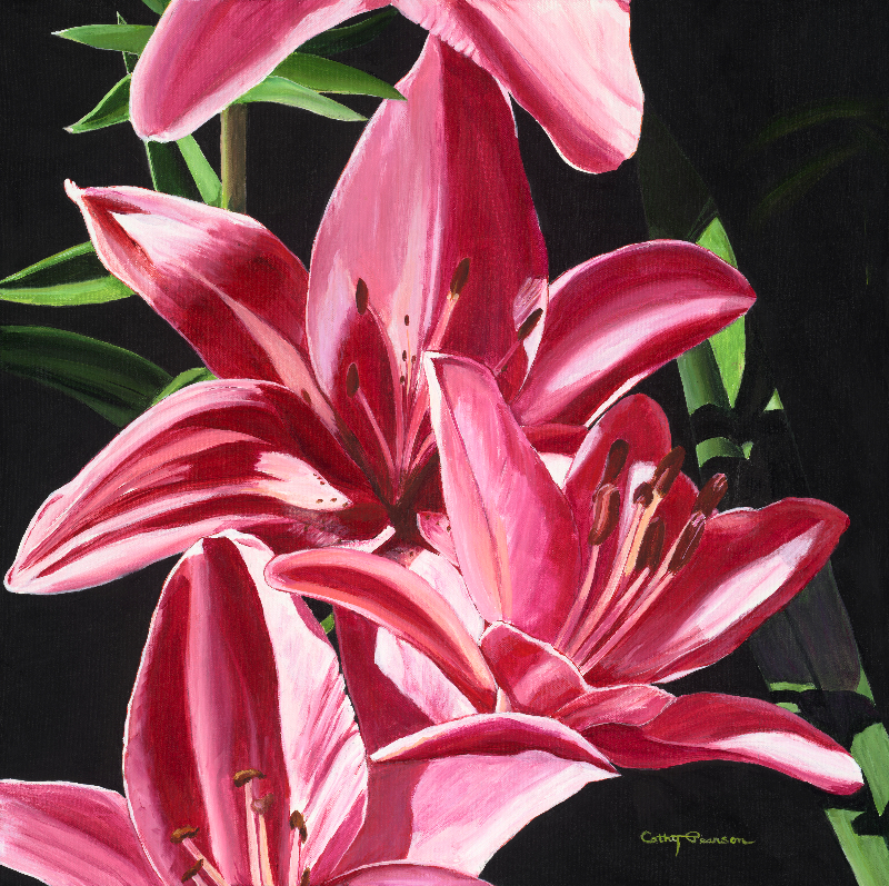 cathy pearson  work zoom heart of red and white lilies, Natural flower