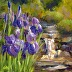 Irises and Waterfall by Gina Anderson