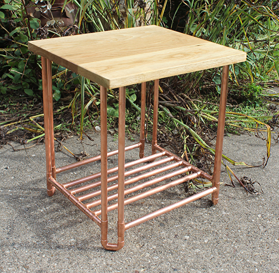 White Oak U0026 Copper Pipe End Table With Shelf