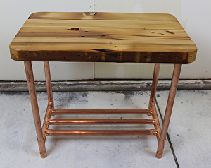 Unique, Handmade End Table Made From Reclaimed, Old Growth (100 Year Old)  2x4s (probably Douglas Fir) And From Three Quarter Inch Industrial Grade  Copper ...