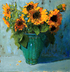 Sunflowers on Blue by BETH WINFIELD