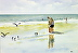 Beach Bird Watchers - Watercolor by Peter Ulrich
