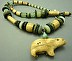 Shaman Necklace: Bear Clan with my handmade bear artifact, handmade beads, serpentine and glass beads. by Luann Udell