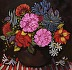 Flowers on striped tablecloth by LUCILA Zentner