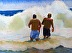 two guys in surf by Pat Flaherty