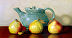 Pears and Teapot by Sally Schrohenloher