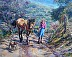 Higher ground - girl and horse and dog by Wilma Forester