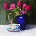 Blue Vase, Collector Tea Cup and Wine Glass by Kay Dewar