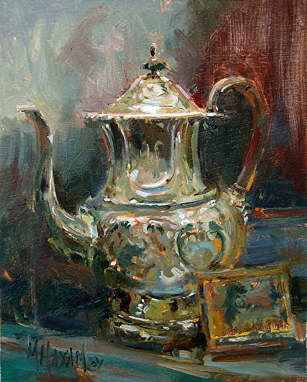 "Silver Teapot by Mary Maxam Oil ~ 10"" x 8"""