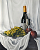 Still Life with Wine and Grapes by Darya Farral
