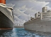 The Clouds of War SS Normandie-HMT Queen Mary-HMT Aquitania @NYC 1939 36X48 by Robin Laffier
