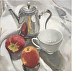Teapot and red apples, reflections by Oonagh O'Toole