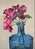 Pink geranium in blue glass bottle by Oonagh O'Toole