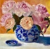 Peonies in Blue and White by Ena  Raquer